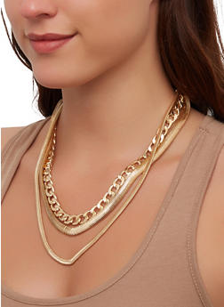 Flat Chain Layered Necklace - 1138074989848
