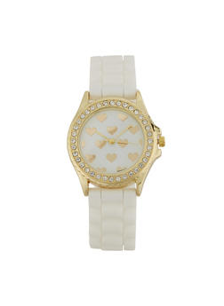 Heart Face Silicone Strap Watch - 1140007008885