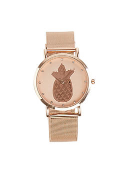 Pineapple Face Metallic Mesh Watch - 1140007008892