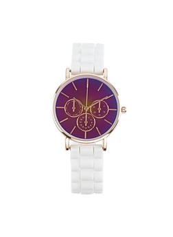 Iridescent Face Silicone Watch - 1140007008893