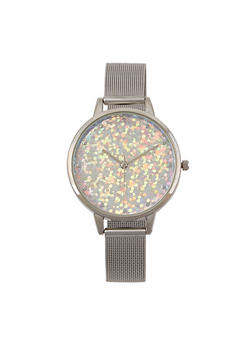 Glitter Face Metallic Mesh Strap Watch - 1140007008895