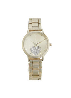 Rhinestone Heart Metallic Watch - 1140007008896
