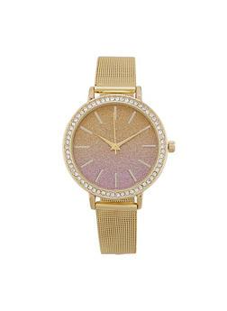 Ombre Glitter Face Metallic Mesh Watch - 1140007008898