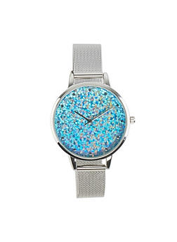 Glitter Face Metallic Strap Watch - 1140007008940