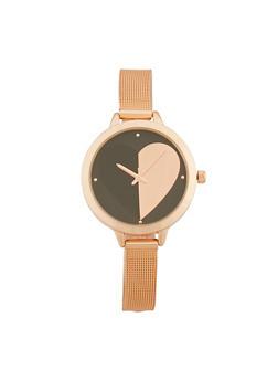 Heart Metallic Mesh Strap Watch - 1140007009415