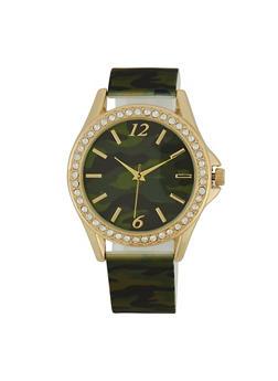 Rhinestone Camo Watch - 1140007009423