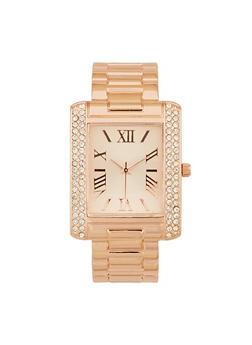 Rhinestone Face Metallic Cuff Watch - 1140007009428