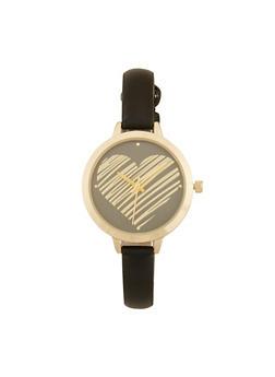 Heart Face Skinny Strap Watch - 1140007009430