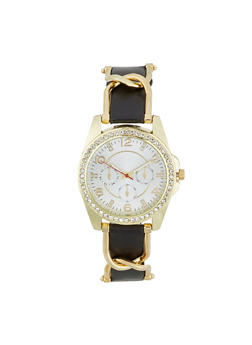 Rhinestone Bezel Faux Leather Strap Watch - BLACK - 1140071430111