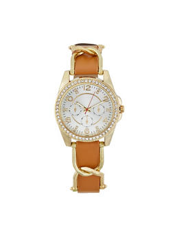 Rhinestone Bezel Faux Leather Strap Watch - TAN - 1140071430111