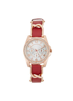 Rhinestone Bezel Faux Leather Strap Watch - WINE - 1140071430111
