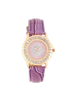 Rhinestone Faux Leather Watch - 1140071430203