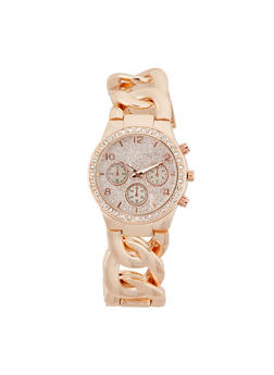 Rhinestone Bezel Chain Strap Watch - 1140071430242