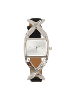 Rhinestone X Strap Watch - 1140071430441