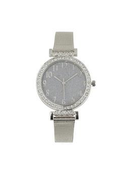 Glitter Face Metallic Mesh Watch - 1140071430515