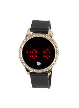 Rhinestone Bezel LED Watch - 1140071430516