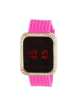Rhinestone Square Bezel LED Watch - 1140071430552