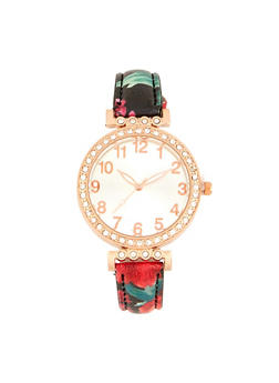 Floral Rhinestone Watch - 1140071430553