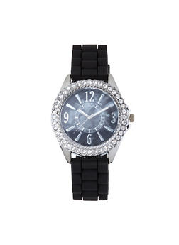 Rhinestone Bezel Silicone Watch - 1140071430582