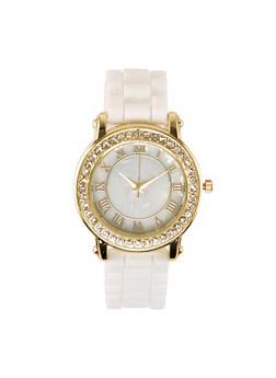 Round Rhinestone Bezel Silicone Strap Watch - 1140071431133