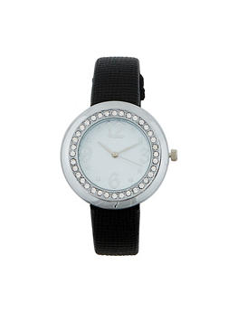 Textured Faux Leather Watch - BLACK - 1140071431231