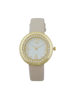 Textured Faux Leather Watch - OATMEAL - 1140071431231