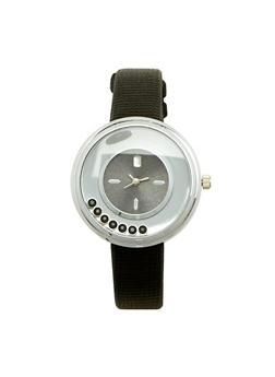 Faux Leather Floating Rhinestone Watch - 1140071431339