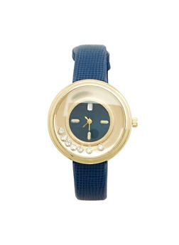 Faux Leather Floating Rhinestone Watch - 1140071431339
