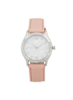 Marbled Face Rhinestone Bezel Watch - 1140071431341