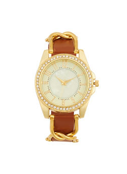 Rhinestone Bezel Metallic Detail Watch - TAN - 1140071431342