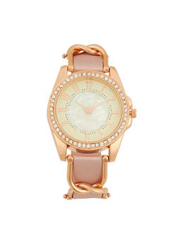 Rhinestone Bezel Metallic Detail Watch - PINK - 1140071431342