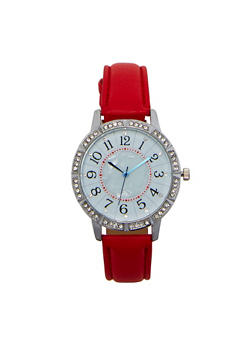 Rhinestone Bezel Faux Leather Watch - RED - 1140071431345
