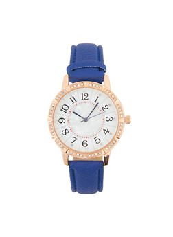 Rhinestone Bezel Faux Leather Watch - 1140071431345