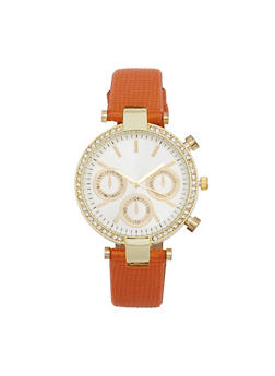Rhinestone Bezel Faux Leather Strap Watch - TAN - 1140071431346