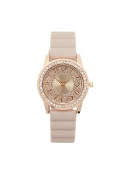 Glitter Face Rubber Strap Watch - BLUSH - 1140071431351