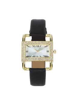 Rectangle Rhinestone Bezel Faux Leather Watch - 1140071431361