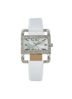 Rectangle Rhinestone Bezel Faux Leather Watch - 1140071431361