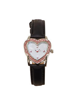 Rhinestone Heart Bezel Watch - 1140071431362
