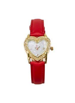 Rhinestone Heart Bezel Watch - 1140071431362