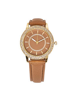 Rhinestone Accent Faux Leather Strap Watch - 1140071431363