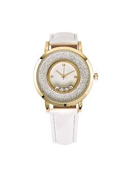 Metallic Bezel Glitter Faux Leather Watch - 1140071431364
