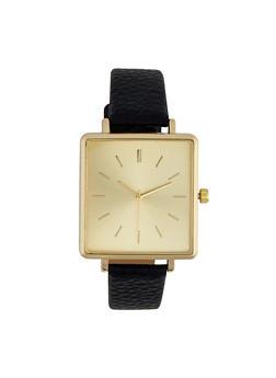 Metallic Square Face Watch - 1140071431376