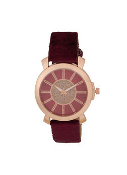 Velvet Band Glitter Face Watch - WINE - 1140071431413