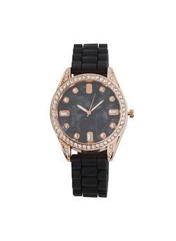 Rhinestone Bezel Silicone Watch - 1140071431526