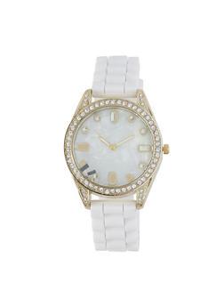 Rhinestone Bezel Silicone Watch - WHITE - 1140071431526