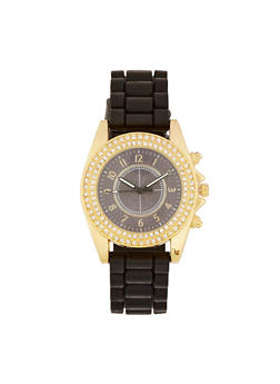 Double Rhinestone Bezel Silicone Watch - 1140071431621