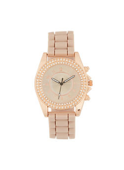 Double Rhinestone Bezel Silicone Watch - 1140071431621