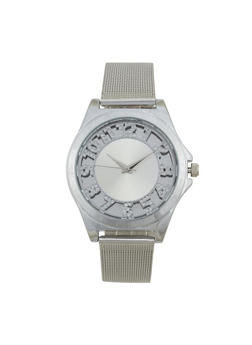 Rhinestone Number Metallic Mesh Watch - 1140071431885