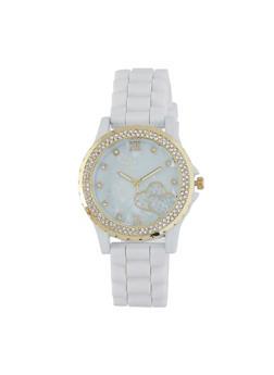 Rhinestone Bezel Rubber Strap Watch - WHITE - 1140071431971