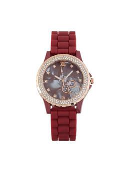 Rhinestone Bezel Rubber Strap Watch - 1140071431971